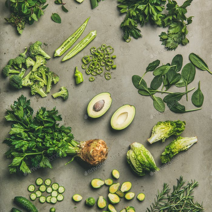 Flat-lay of whole and cut vegetables and herbs, square crop