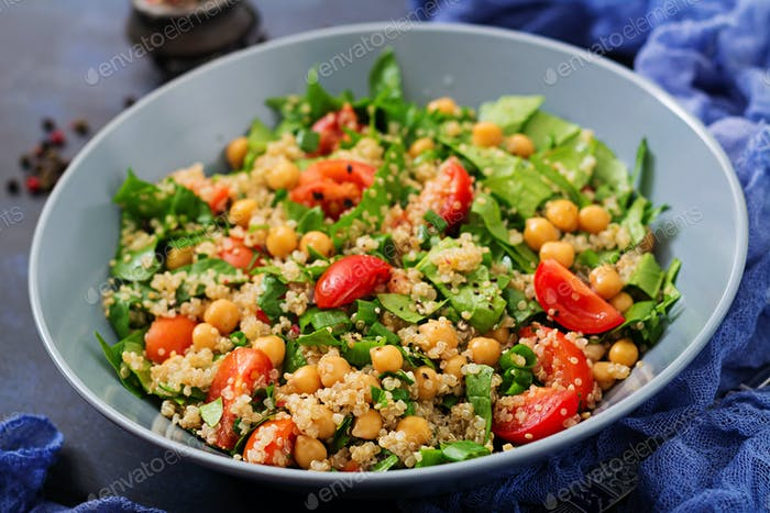 Dietary menu. Healthy vegan salad of fresh vegetables