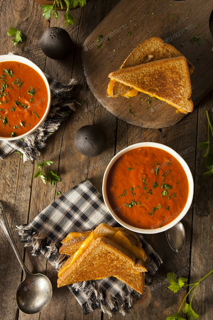 Homemade Grilled Cheese with Tomato Soup