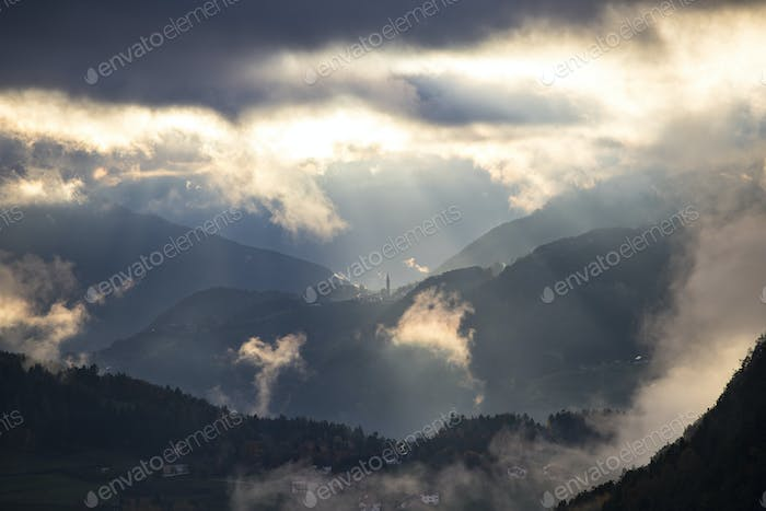Misty sunset in the mountains
