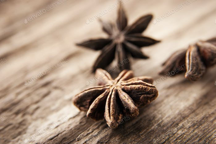 Star anise on the wooden table