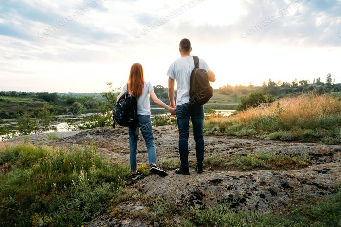 Home Country Traveling, domestic travel, Country Escapes, Neutral color couple portrait. Local