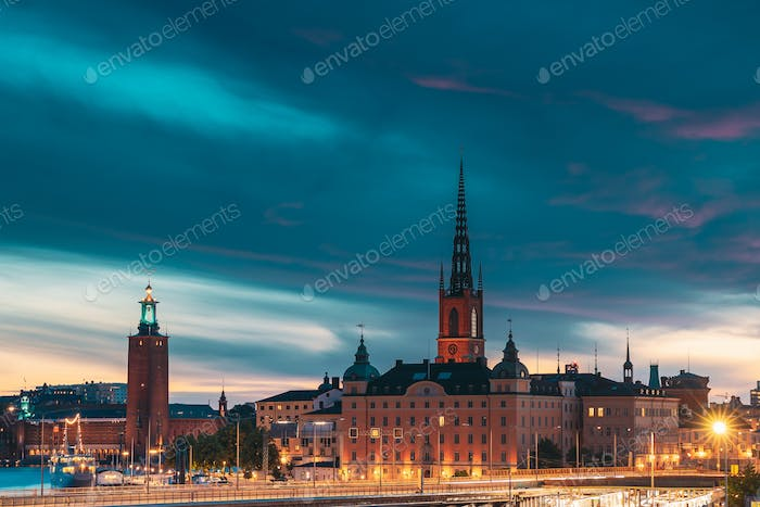 Stockholm, Sweden. Scenic View Of Stockholm Skyline At Summer Evening Night. Famous Popular