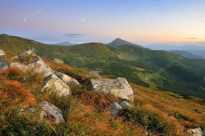 Amazing mountain landscape in morning light. Carpathian, Ukraine