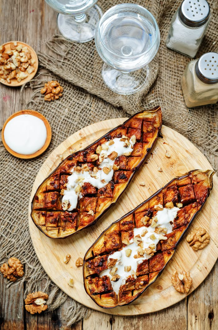 roasted spicy eggplants with Greek yogurt walnuts topping