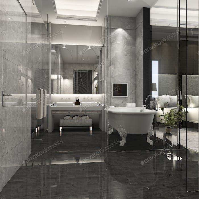 3d rendering luxury bathroom in hotel