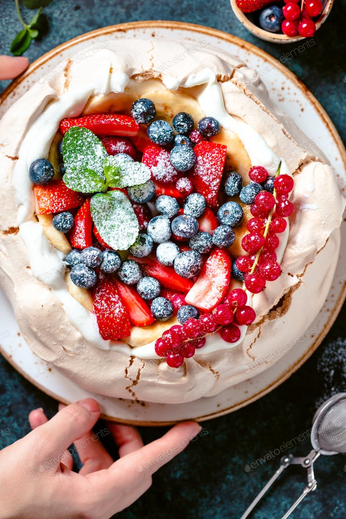 Top view on New Zealand Pavlova cake