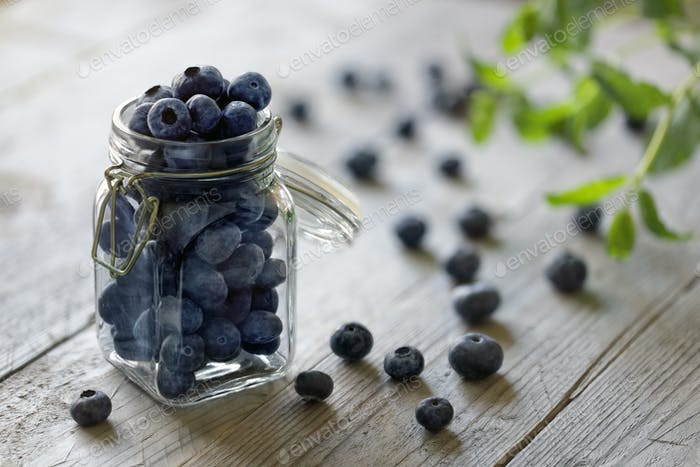 Blueberry in jar