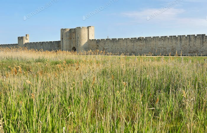 Fortified wall of Aigues Mortes village in France