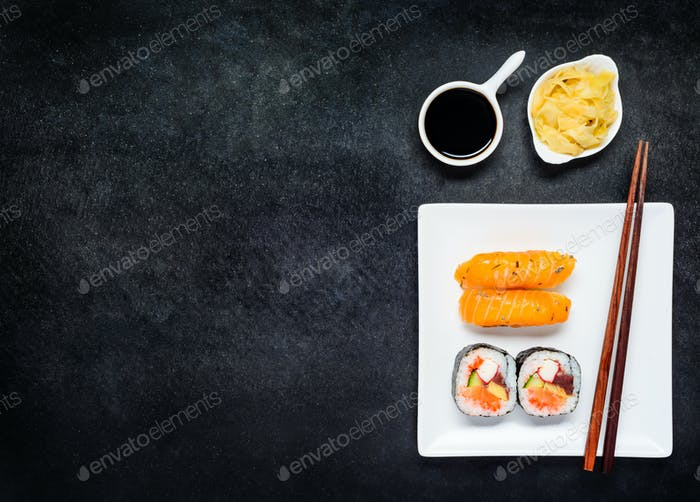 Sushi with Gari and Soy Sauce on Copy Space Area