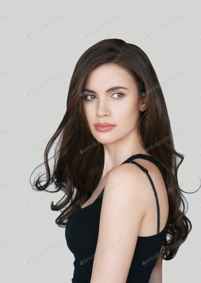 Beauty hairstyle woman long brunette hair beauty