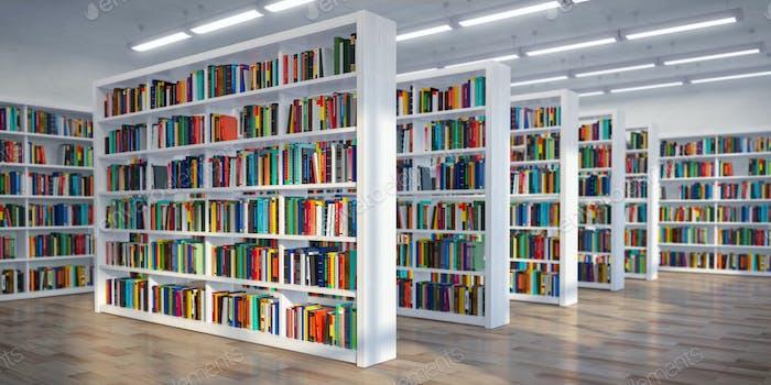Bibliothek. Hintergrund aus weißen Bücherregalen mit Büchern und Textb
