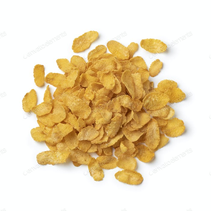 Heap of traditional cornflakes close up