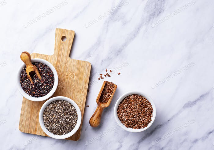 Chia, quinoa and flax seeds