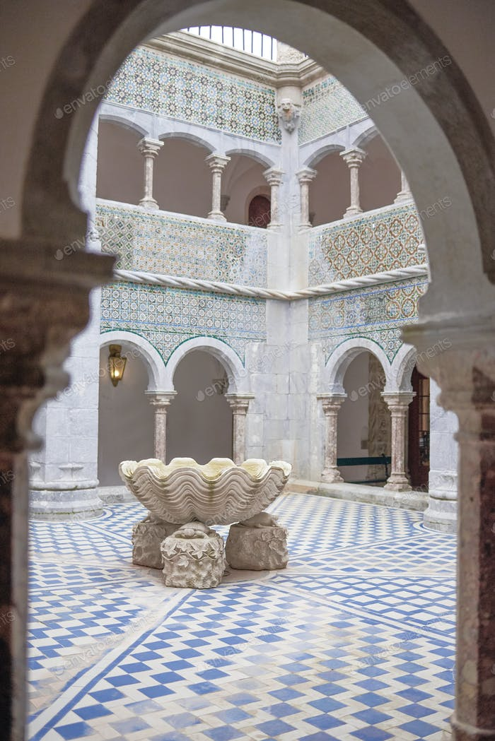 Courtyard of Quinta da Regaleira in Sintra, Portugal