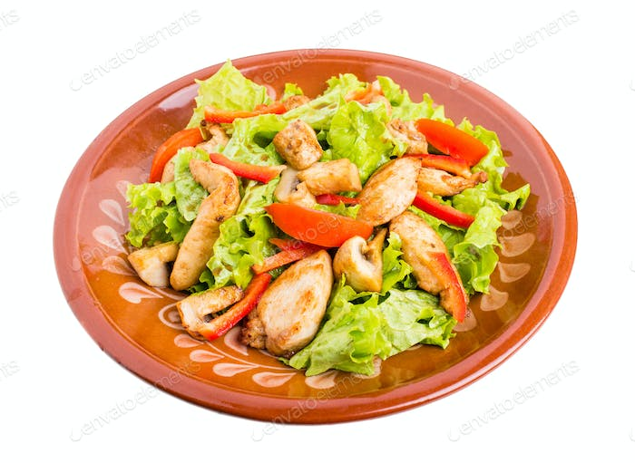 Delicious chicken salad with mushrooms.
