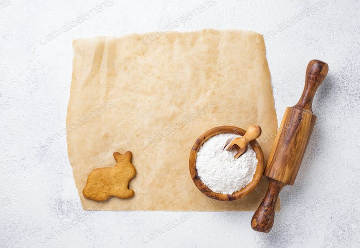 Baking concept. Rolling pin, flour and egg
