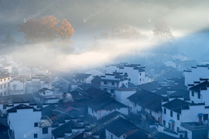 the early morning sun shone on shicheng village