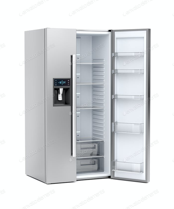 Silver big refrigerator with opened door