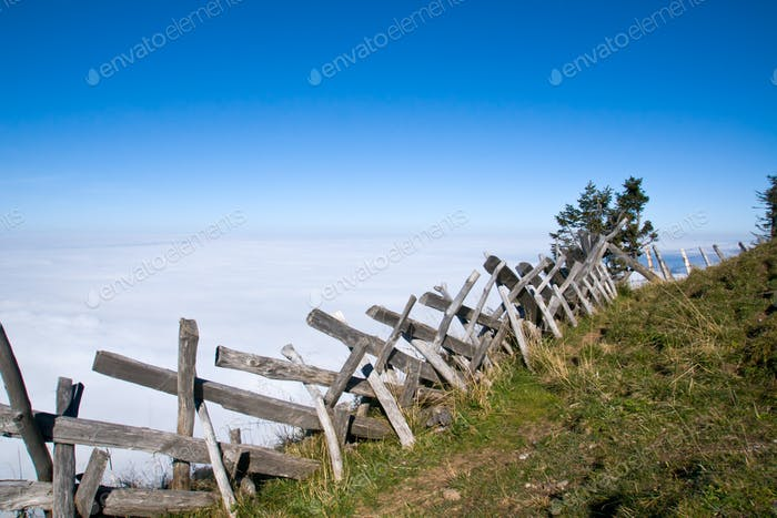 Wooden fence in the alps