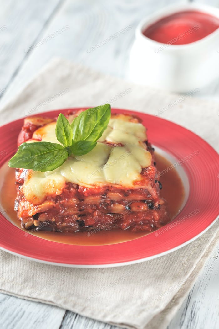 Portion of parmigiana di melanzane