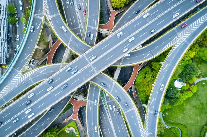 aerial view of city interchange in shanghai, China