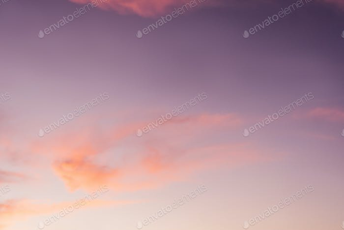 Beautiful pink clouds, sky background.