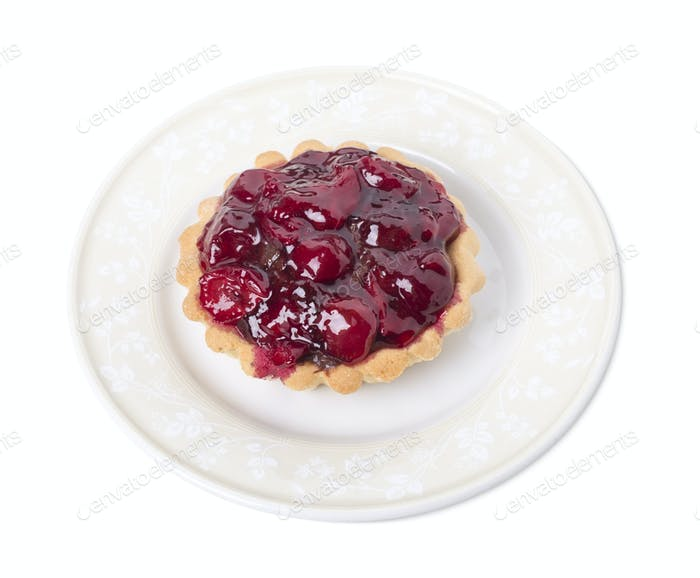 Tartlet with cherry and fruit jelly.
