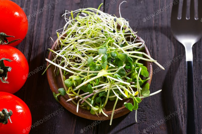 Fresh mixed onion and radish micro greens in wooden bown with cherry tomatoes