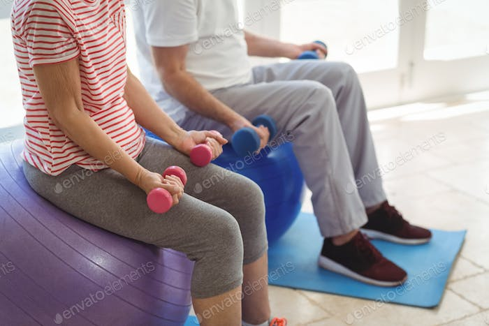 Senior couple exercising with dumbbells on exercise ball