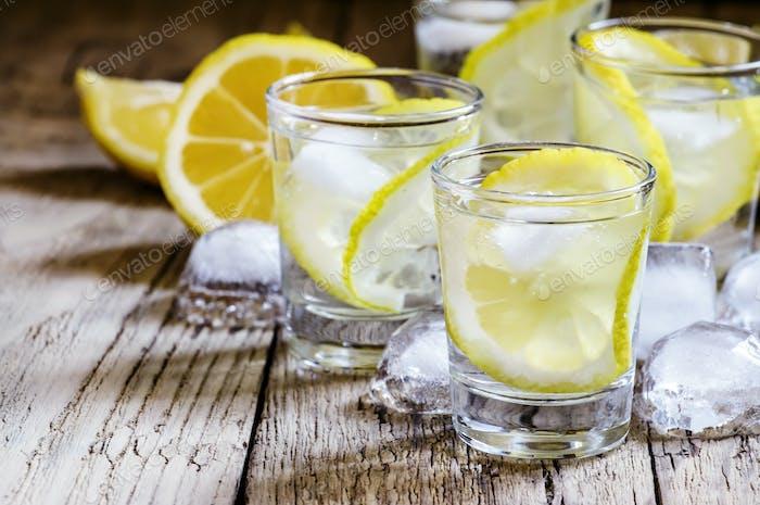 Lemon vodka with ice