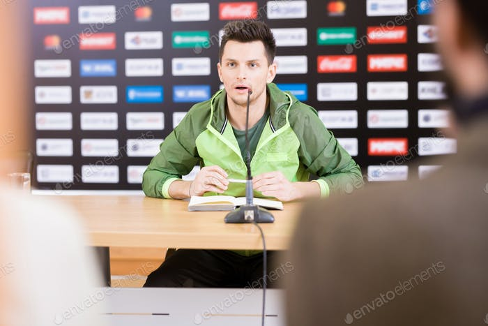 Handsome Soccer Player at Press Conference