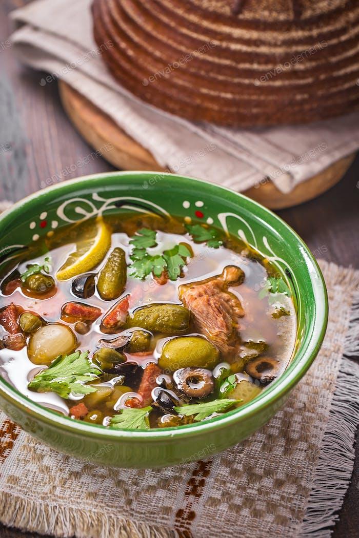 Solyanka soup bowl