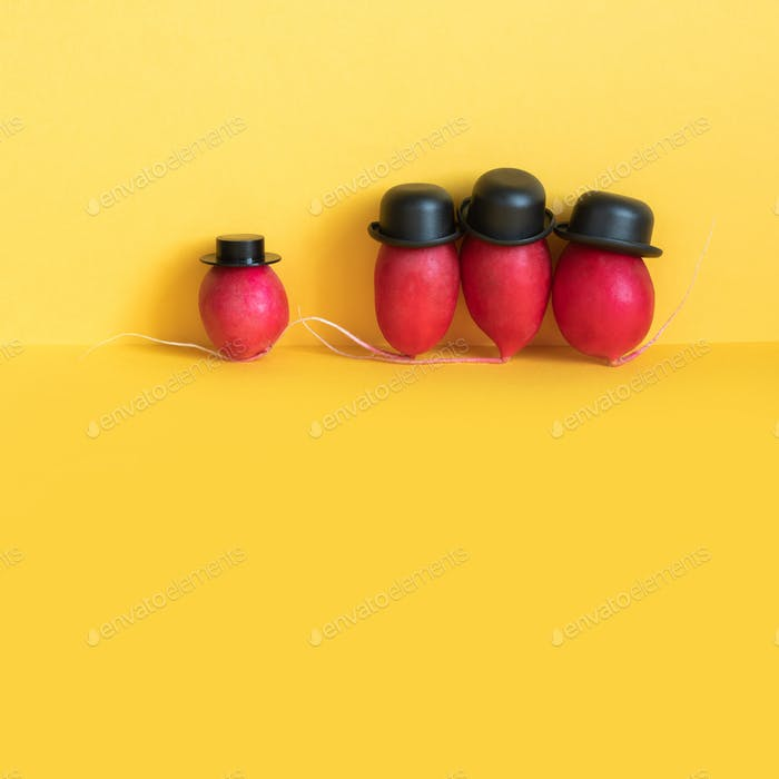 Comical radishes characters on yellow background.