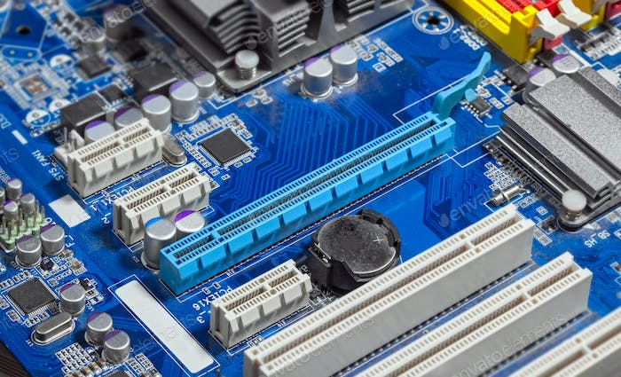 Close up PCI Express slots on motherboard