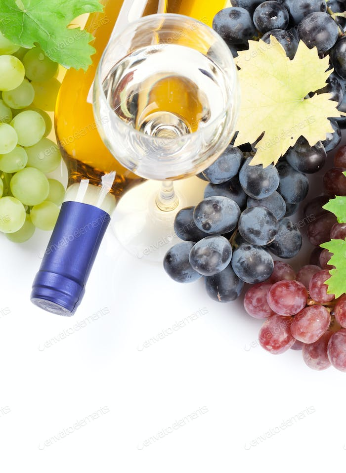 Wine and grapes. Isolated on white