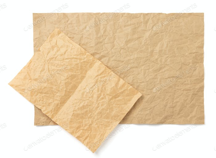 wrinkled paper at white background