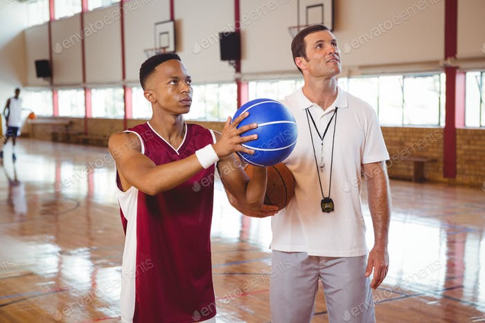 Coach training teenage boy