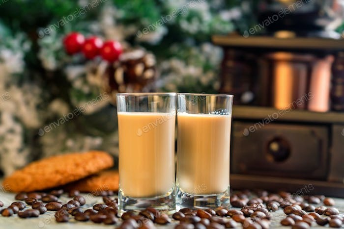 Shots of cream liqueur with coffee beans