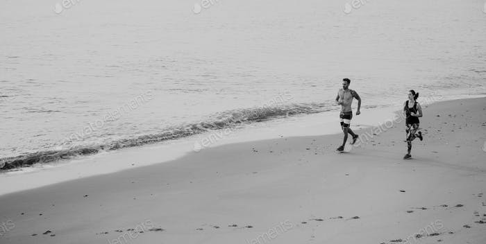 Run Exercise Beach Sport Coast Sprint Nature Concept