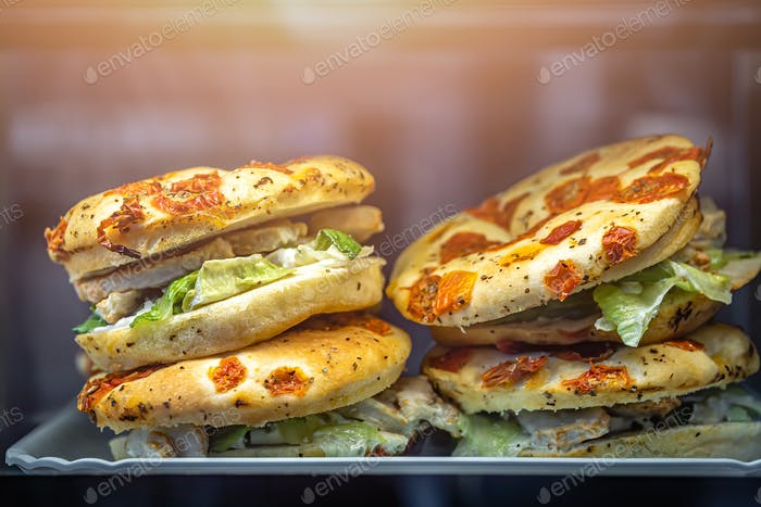 Chicken focaccia sandwiches in a cafe