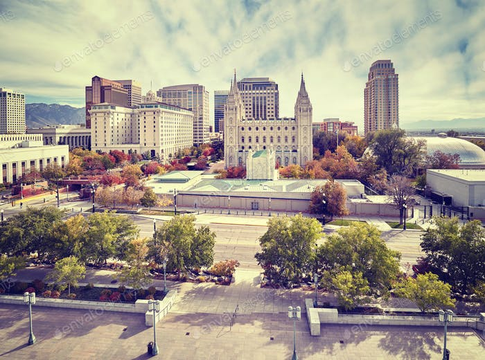 Color toned picture of Salt Lake City downtown, Utah, USA