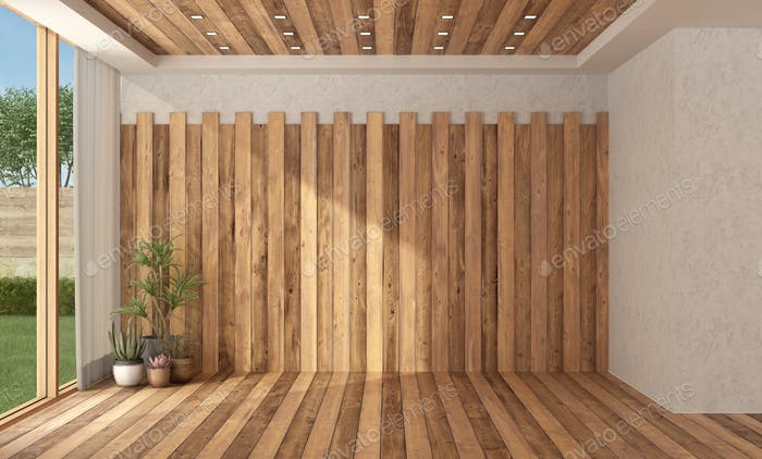 Empty modern room with wooden wall, floor and ceiling - 3d rendering