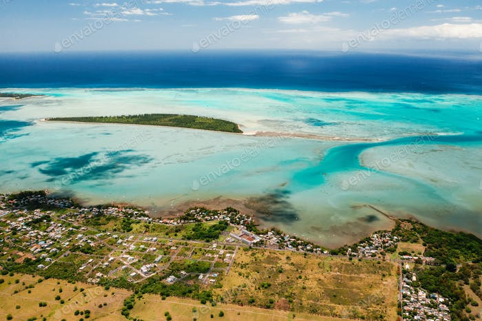 The view from the bird's eye view on the coast of Mauritius. Amazing landscapes of Mauritius