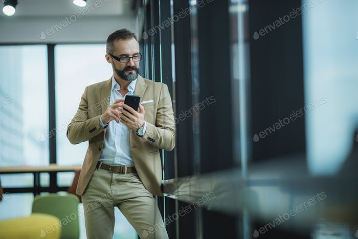 portrait of bearded gentleman wearing trendy suit, moustache businessman