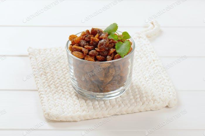 glass of sweet raisins