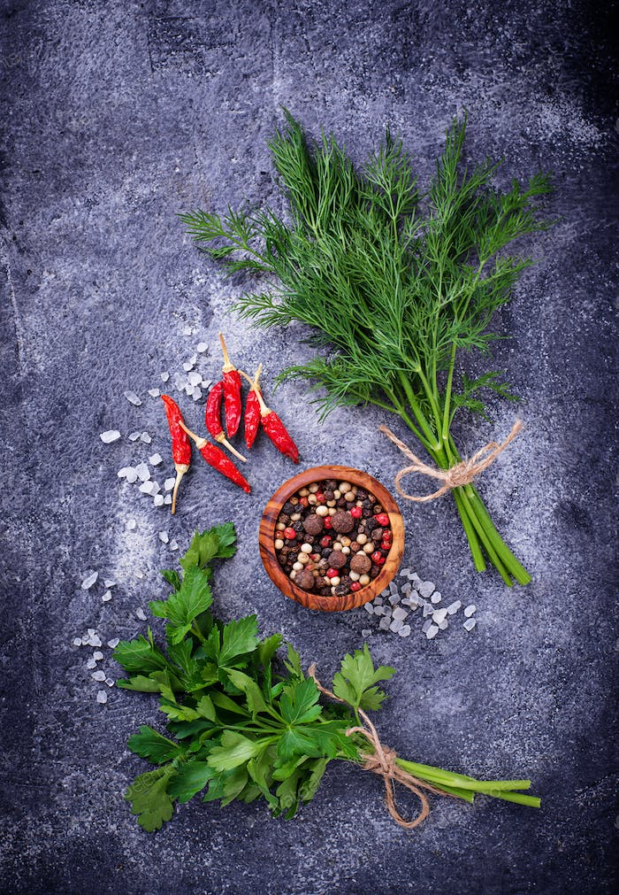 Herbs and spices. Dill, parsley, salt and pepper