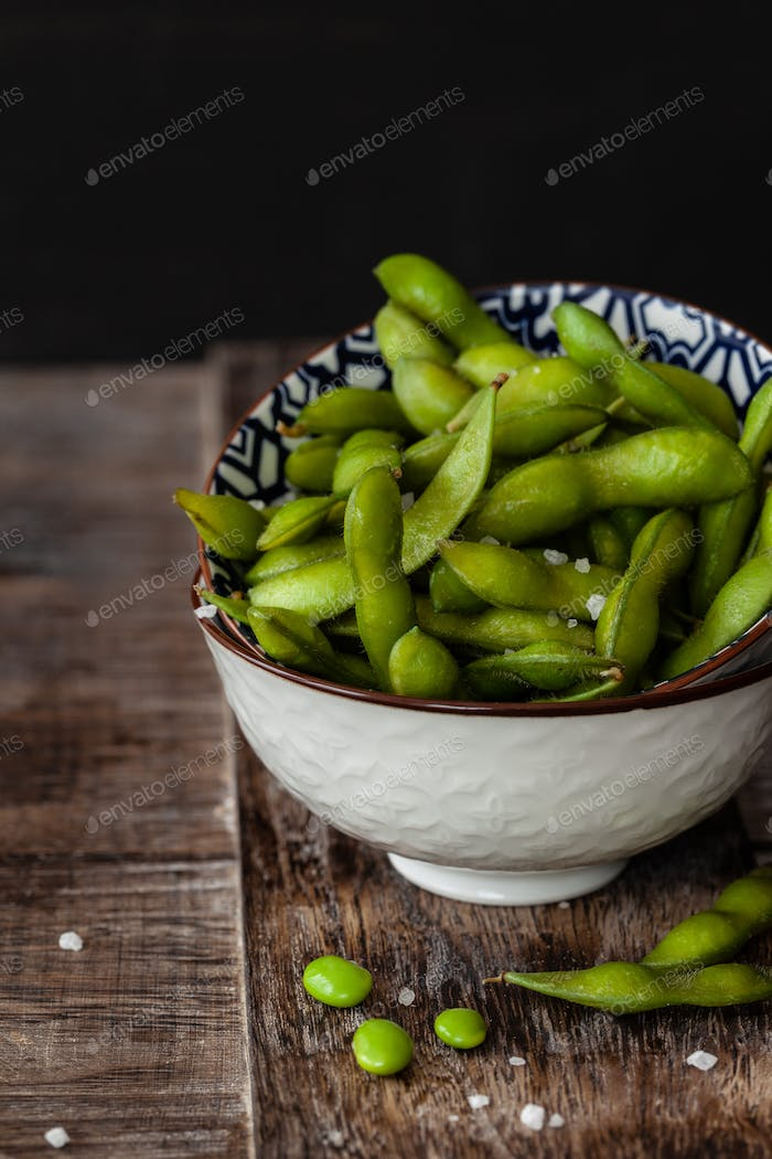 Green soy beans with salt