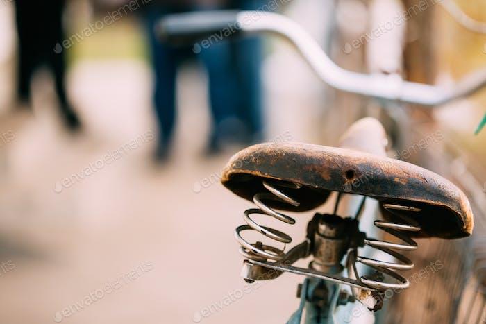 Close up Vintage alte Fahrradsitz