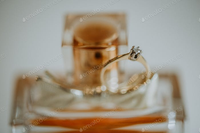 Egagement ring on the perfume